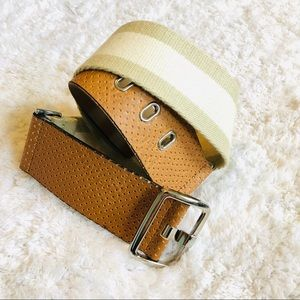 THE LIMITED Cream, Tan, Leather Belt Size Small